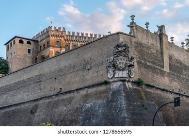 Vatican City,Italy - 23 June 2018: Lights are lit outside the walls of the Vatican in Vatican city