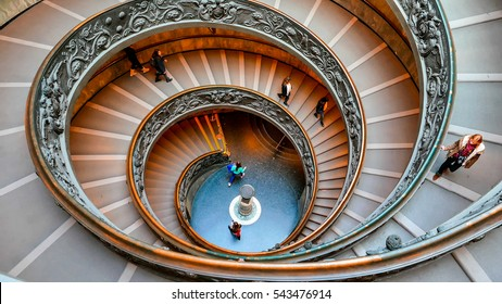 VATICAN - February 19, 2015: Spiral Staircase. famous double spiral staircase at the exit Vatican Museum, Rome, Italy