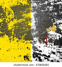 The Vatican flag grunge background. Background for design in country flag
