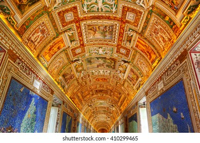 VATICAN, ITALY - APRIL 11, 2016: The Gallery of Maps in the Vatican Museum, painted by friar Ignazio Danti of Perugia, remains the world's largest pictorial geographical study.