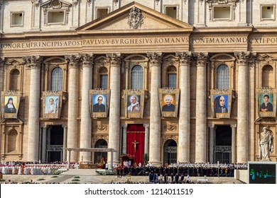 Vatican / Italy - October 14, 2018. Facade of St. Peter's Basilica. The canonisation of seven new saints (the most notable: Pope Paul VI and Oscar Arnulfo Romero) at mass celebrated by Pope Francis