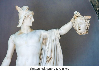 Vatican, Italy-April 12,2010: A beautiful ancient Roman stone carving sculpture depicting image of Perseus and Medusa's head.