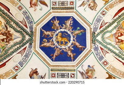 VATICAN - JULY 19, 2014: The ceiling in one of the galleries of the Vatican Museums on July 19, 2014 in Rome, Italy.