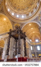 Vatican - June 1, 2020: Inside view of Saint Peter's Basilica in Rome, Italy.