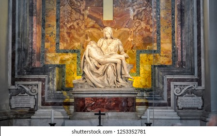 Vatican - May 2018: The Pieta (Mother Mary and Jesus Christ) sculpture in St. Peter's Basilica by Michelangelo
