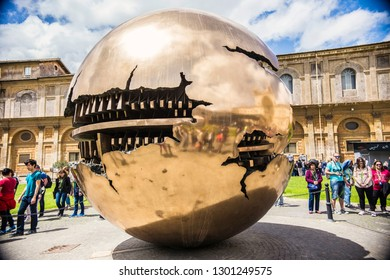 VATICAN - May 2018: Sphere within Sphere art object by Arnaldo Pomodoro  in Vatican Museo Garden, Vatican, Italy
