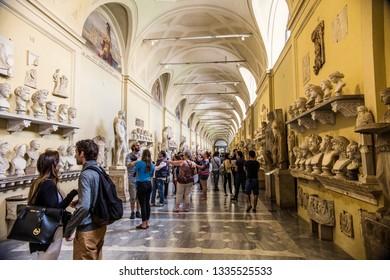 VATICAN - May 2018: Tourists visiting Vatican museums, Vatican, Rome