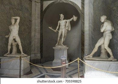 VATICAN Museum. JUNE 2017. Perseus statue, carved by Antonio Canova. The statue shows the triumphant Perseus holding the severed head of the Medusa, one of the three Gorgons