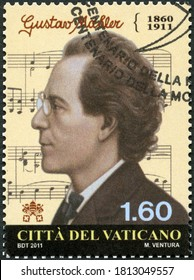 VATICAN - NOVEMBER 18, 2011: A stamp printed in Vatican shows Gustav Mahler (1860-1911), composer, The 100th Anniversary of the Death, 2011