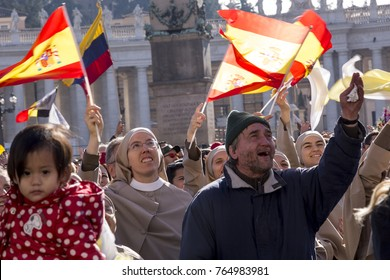 Vatican, November 19, 2017: pilgrims with Spanish flag during Urbis et Orbis prayer on Sunday at Saint Peters Square.