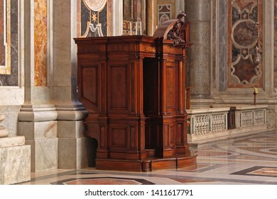 Vatican - October 26, 2009: Confession Booth in St Peter Cathedral in Vatican City.