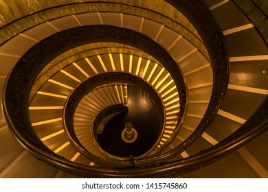 VATICAN , ROME - APRIL 29, 2019: The famous spiral staircase at the Vatican Museum