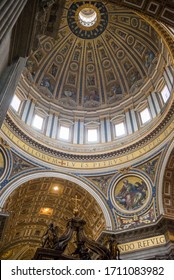 Vatican, Rome / Italy 10.02.2015.Dome of St. Peter's Basilica Inside The papal basilica in the Vatican