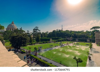VATICAN, Rome, Italy - August 09, 2017: Vatican inside courtyard view with lot of tourists