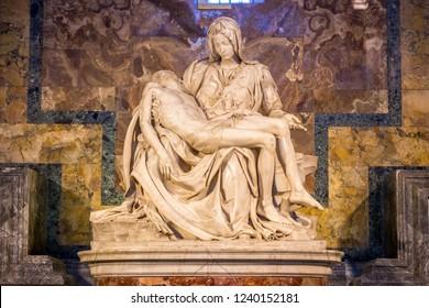 VATICAN, ROME, ITALY - AUGUST 16, 2014: View of La Pieta from Michelangelo inside Saint Peter Basilica, Vatican in Rome, Italy. Renaissance sculpture.