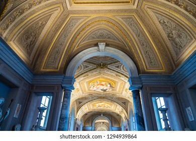 VATICAN, ROME / ITALY - DECEMBER 22, 2018: Ceiling of Gallery of the Candelabra in Pio-Clementino Museum in Vatican museums. This gallery takes its name from the massive marble candelabra.