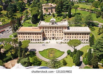 Vatican, Rome, Italy - June 01, 2018: View of the Palace of the Governorate of the Vatican City from the dome of St. Peter's Cathedral