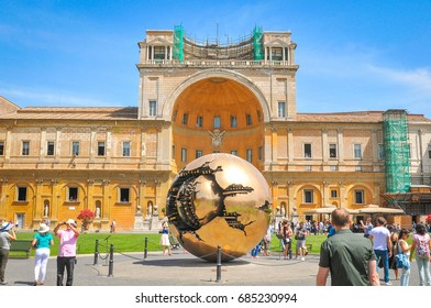 Vatican, Rome, Italy - June 21, 2016: Tourists visit Vatican Museums (Musei Vaticani), Christian and art museums in Vatican City, Rome, Italy.