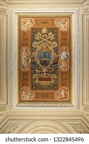 Vatican, Rome, Italy- May 29, 2018: Coat of arms of Pope Leo XIII