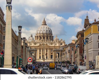 Vatican - Rome, Italy September 2018. Front View of saint Peter Basilica.