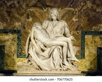 Vatican. Rome. Italy. St. Peter's Basilica. March 09. 2017. The famous sculpture of Pieta is the first famous sculpture by Michelangelo Buonarroti in St. Peter's Cathedral in the Vatican.