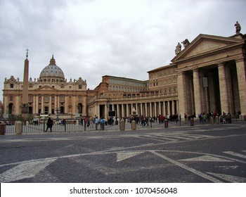 Vatican, Rome, Lazio, Italy - March 30, 2010: St. Peter's Basilica and Bernini's colonnade in St. Peter's Square