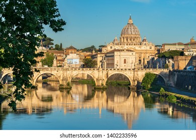 VATICAN, ROME\ITALY - APRIL 29, 2019:The dome of St. Peter's Basilica reflected in the Tiber river is the most famous view of the city of Rome