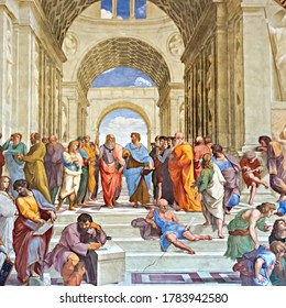 Vatican - Sept. 22, 2014:  School of Athens famous frescoes by Italian Renaissance artist Raphael. It was painted 1509 and 1511 to decorate with frescoes the rooms in the Apostolic Palace.