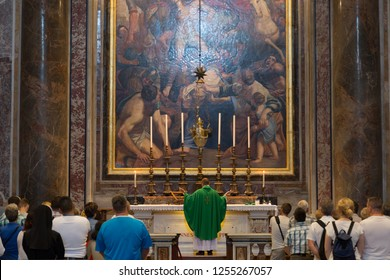 VATICAN - SEPTEMBER 22, 2015. St Peter's Basilica. St. Peter's Cathedral - a Catholic cathedral, the central and largest construction of Vatican, the largest historical Christian church in the world.