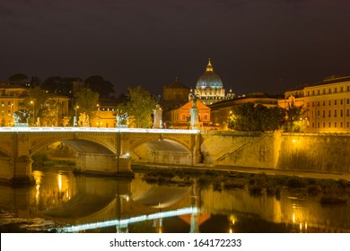 Vatican and the Tiber river at a summer night