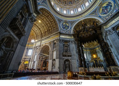 VATICAN,ROME, ITALY - JULY 8, 2016: Beautiful sculptural decoration on the wall of central nave in interior of the St. Peter's Cathedral. Europe.