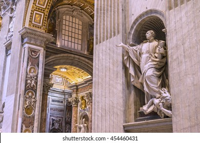 VATICAN,ROME, ITALY - MARCH 16, 2016: Beautiful sculpture of the Saint Ignatius of Loyola  inside of the famous St. Peters Basilica. Founders statue by Camillo & Giuseppe Rusconi. Europe.