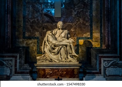 Vatican/Vatican - March 21 2019:  The Pity sculpture by Michelangelo Buonarroti inside St. Peter's Basilica