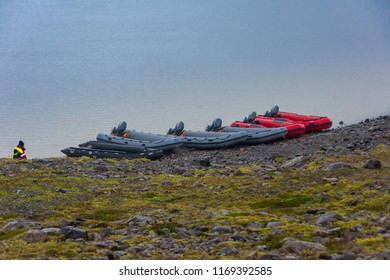 VATNAJOKULL, ICELAND - JULY 28, 201: Zodiac boats ready for a Blue Ice Zodiac boat tour on the Fjallsarlon Glacial Lagoon on an arm of the huge Vatnajokull glacier in South Iceland
