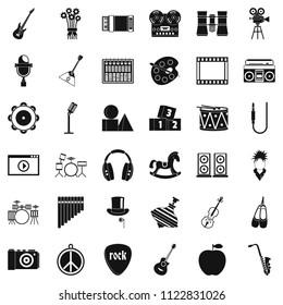 Vaudeville icons set. Simple set of 36 vaudeville icons for web isolated on white background