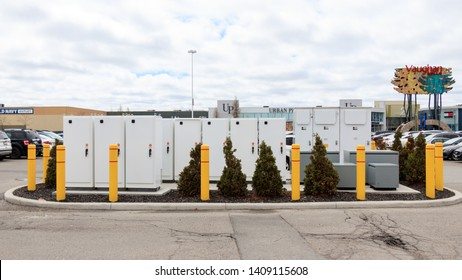VAUGHAN, CANADA - April 24, 2019: Tesla Supercharger Station power supply technology at Tesla's Vaughan Mills location.