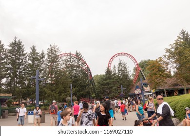 VAUGHAN, CANADA - AUGUST 28, 2018: Dragonfire Double Looper roller coaster at Canada's Wonderland.