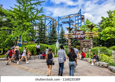 VAUGHAN, ONTARIO, CANADA - AUGUST 18, 2017: Canada's Wonderland (opened in 1981, 130 ha theme park, home to most exhilarating collection of rides and roller coasters in North America). Attraction Time