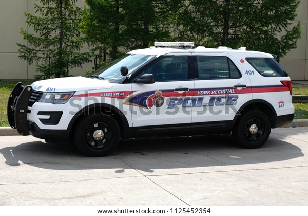 Vaughan, Ontario / Canada - July 02 2018: A Marked YRP (York Regional Police) Ford Explored SUV Parked While Responding To A 911 Call. YRP Is A Law Enforcement Organization In Ontario, Canada.