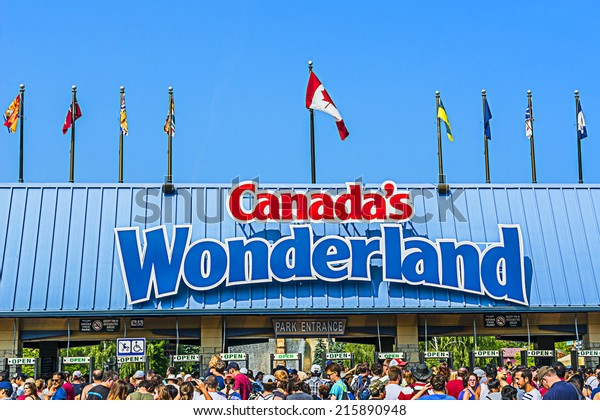 VAUGHAN, ONTARIO, CANADA - JULY 21, 2014: View of Canada's Wonderland. Wonderland is a 130 ha theme park located in Vaughan. It was opened in 1981.