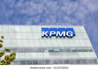 Vaughan, Ontario, Canada- June 10, 2018: Sign of KPMG on the new building in  Vaughan, Ontario. KPMG is a professional service company and one of the Big Four auditors, Seated in Netherlands.