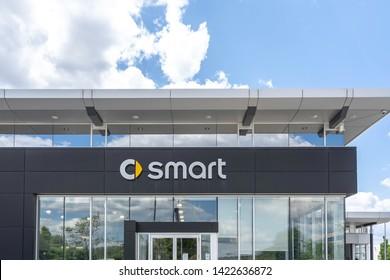 Vaughan, Ontario, Canada - June 11, 2019: Smart car dealer in Vaughan, Ontario, Canada. Smart is a German automotive brand and division of Daimler AG.