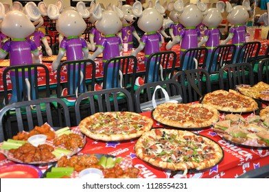 Vaughan, Ontario, Canada - June 4, 2018: Foods at birthday party in Chucke e Cheese restaurant.