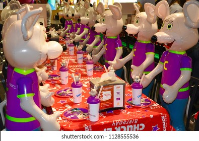 Vaughan, Ontario, Canada - June 4, 2018: Birthday party set up in Chucke e Cheese restaurant.