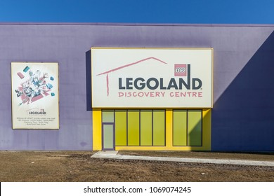 Vaughan, Ontario, Canada - March 17, 2018: Legoland Discovery Centre sign at Vaughan Mills mall near Toronto. Legoland Discovery Centre is an indoor family attraction chain.