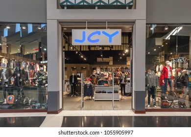 Vaughan, Ontario, Canada - March 24, 2018: JCY store front at Vaughan Mills in Toronto. JCY is one of the largest independent fashion boutiques in the GTA region.