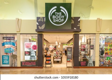 Vaughan, Ontario, Canada - March 24, 2018: The Body Shop store front at Vaughan Mills in Toronto, a British cosmetics, skin care and perfume company.