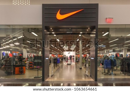 569151cb Vaughan, Ontario, Canada - March 24, 2018: Nike store front at Vaughan