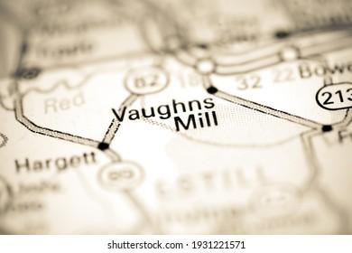 Vaughns Mill. Kentucky. USA on a geography map