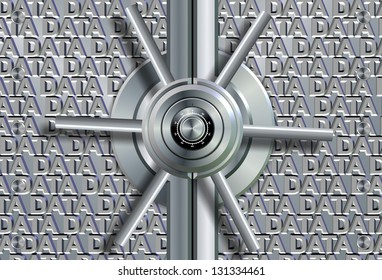 Vault lock in front of group of words spelling data / Data security